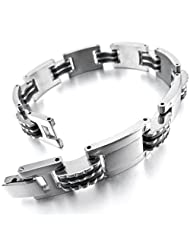 MunkiMix Stainless Steel Rubber Bracelet Link Wrist Silver Black Polished Men