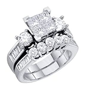 0.9 cttw Diamond Baguette and Princess Cut 10k White Gold Bridal Sets Wedding Rings 6mm (Sizes 3-11)