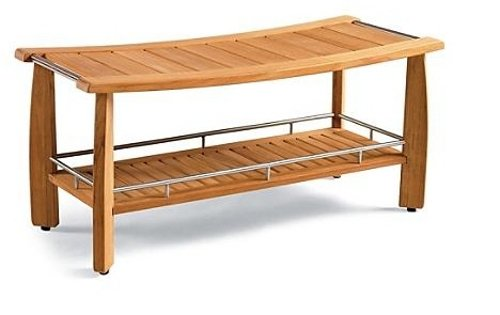 Grade A Teak Wood Outdoor Garden Luxurious 42″ Estate-size Teak Shower Backless Bench