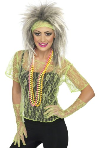 Smiffys Retro 80s Neon Green Lace Pop Star Adult Halloween Costume