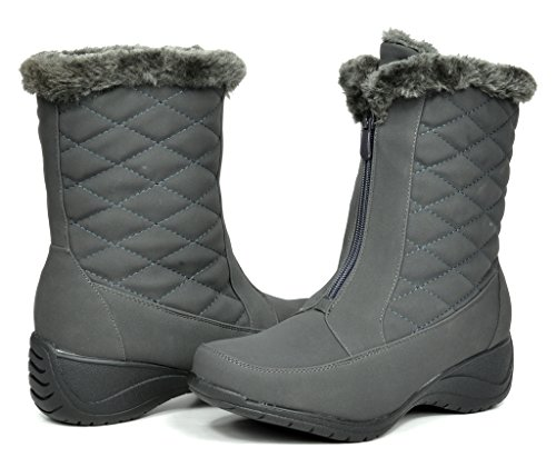 DREAM PAIRS CANADA Women's Winter Fur Interior Front Zipper Quilted Shaft Outdoor Snow Boots Grey Size 10 (Canada Snow Shoes compare prices)