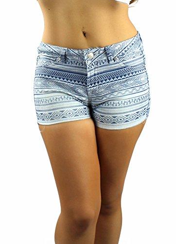 Lnlclothing Tribal Print Shorts,Blue,Small