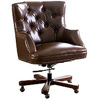 Abbyson Living BR-F001-LBRN Scarlett Leather Office Chair (Brown)