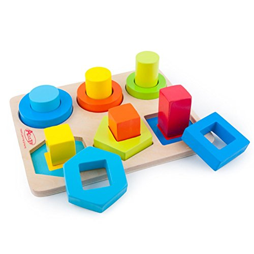 Acooltoy holzspielzeug formen stecken stapel puzzle bunte