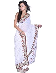 Exotic India Chic-White Wedding Sari With Embroidered Bootis And Zardozi - White