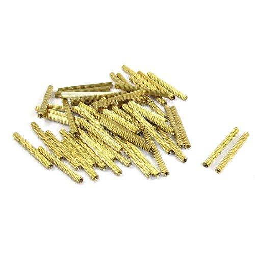 50 Pcs Female Threaded Pillars Brass Standoff Spacer Gold Tone M2x30mm