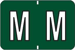 Smead BA300RA Color-Coded Alphabetic Label, M, Label Roll, Dark Green, 500 labels per Roll, (66732)
