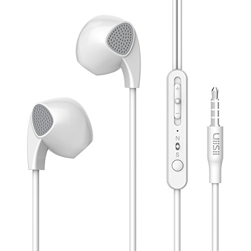 Auricolari, UiiSii U1 In-Ear cuffie, auricolari, cuffie con microfono e controllo del volume per i dispositivi Apple, tra cui iPhone, iPod, iPad, Samsung Galaxy, Sony, Nokia cellulari, MP3 MP4 MP5 giocatori, tablet, computer portatili, desktop e altri (Bianco)
