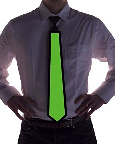 RaveStyle LED Neck Ties - Get Lit - Music Activated Illuminated Neck Tie for Clubbing, Rave, Birthday, EDM, Disco, Dubstep, Orbiting and Costume Parties (green) (El Wire Clothing compare prices)