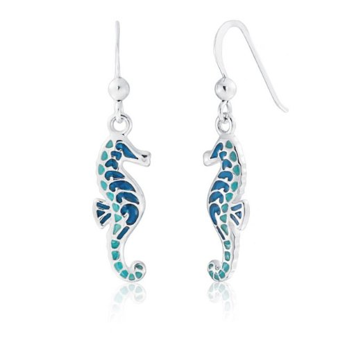 Bling Jewelry 925 Silver Nautical Blue Turquoise Color Seahorse Dangle Earrings