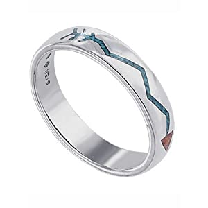 Turquoise Inlay Lifeline 4 MM Band Sterling Silver Ring