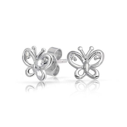 Bling Jewelry Girls Childrens Jewelry CZ Silver Open Butterfly Stud Earrings
