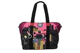 Nicole Lee WR Crinkle Nylon Print Expandable Overnighter Shoulder Bag (Dark