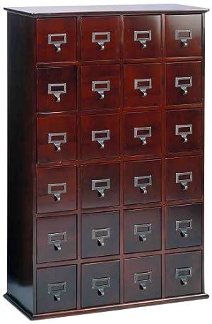 Leslie Dame CD-456C Solid Oak Library Card File Media Cabinet
