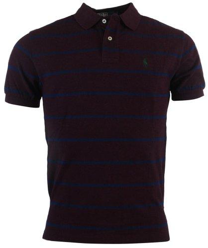 Polo Ralph Lauren Mens Classic Fit Striped Mesh Polo Shirt - S - Burgundy/Navy