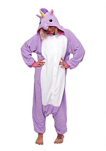 Unisex Unicorn animali Pigiama Carnevale Cosplay Onesies Kigurumi costume per adulti (S(Fit 148-160CM), Viola unicorno)