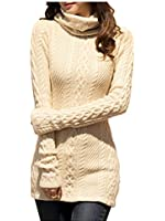V28® Women Polo Neck Knit Stretchable Elasticity Long Sleeve Slim Sweater Jumper