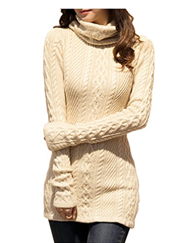V28 Women Polo Neck Knit Stretchable Elasticity Long Sleeve Slim Sweater Jumper (US SIZE 0-4, Beige) (Clothes Women Sweaters compare prices)