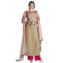 Bhelpuri Women Beige Georgette Semi-stitched Salwar Kameez