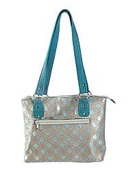 Elegant Blue Shoulder Bag Brocade Self Weaved Polka Dot For Ladies By Rajrang