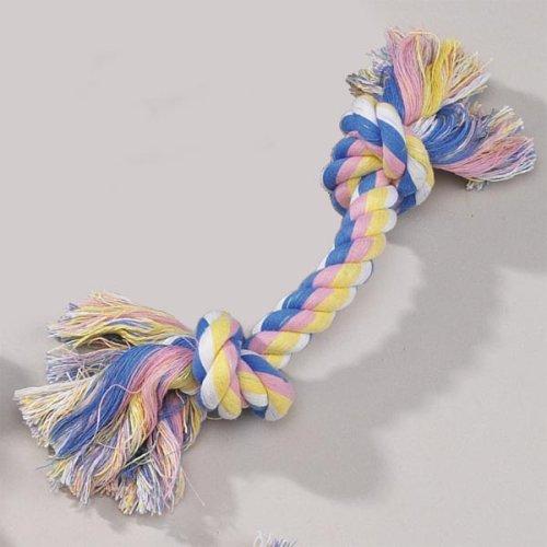 Zanies Pastel Knotted Rope Bone Dog Pull Tug Toy 14″