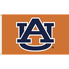 NCAA Auburn Tigers 3-by-5 Foot Flag A U Orange Background with Grommets by BSI