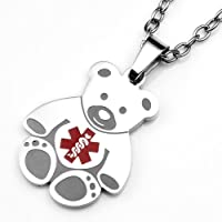 Teddy Bear Medical Alert Stainless Pendant for Children 1 Inch by StickyJ