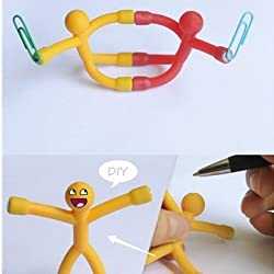 5PCS Mini Magnets Q-Man Yellow Orange Blue Pink Purple Rubber Man Novelty Awesome Gift Cute Toy