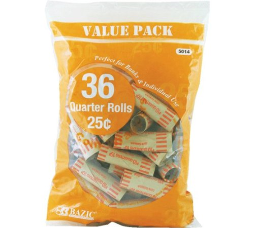 Bazic Products 5014-50 BAZIC Quarter Coin Wrappers - 36-Pack Case of 50 - 1