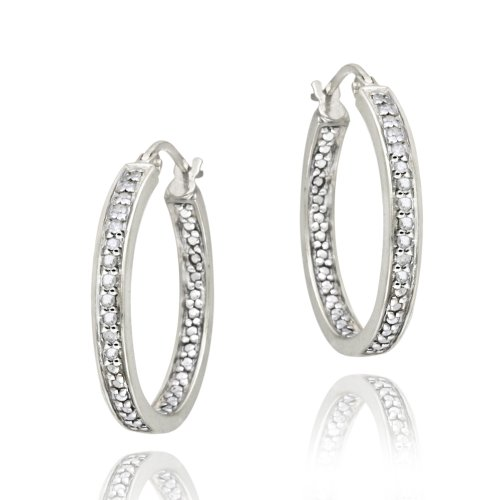 Sterling Silver 1/4ct Diamond Inside-Out Hoop Earrings