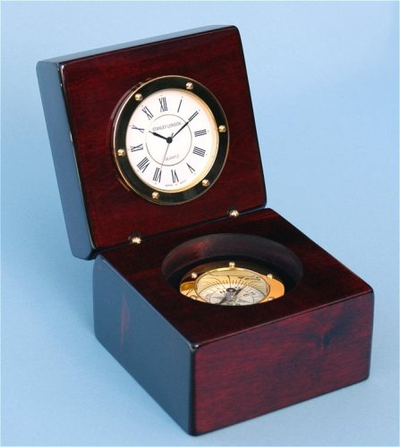 Piano Finished Mahogany Desk Clock with Magnetic Compass