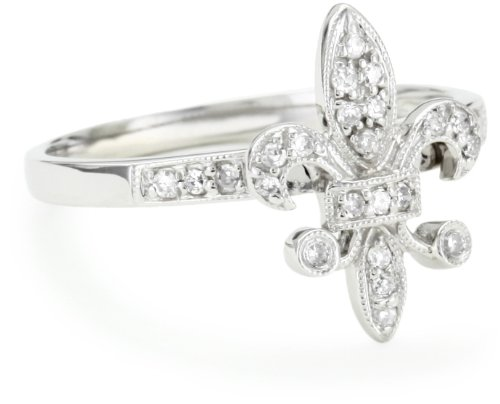 "Kc Designs ""Trinkets"" Diamond 14K White Gold Fleur-De-Lis Ring, Size 6"