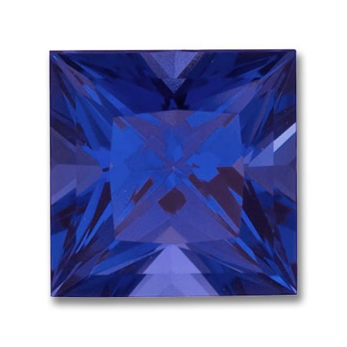 3x3mm Princess Cut Gem Quality Chatham-Created Cultured Blue Sapphire Weighs .17-.21 Ct.