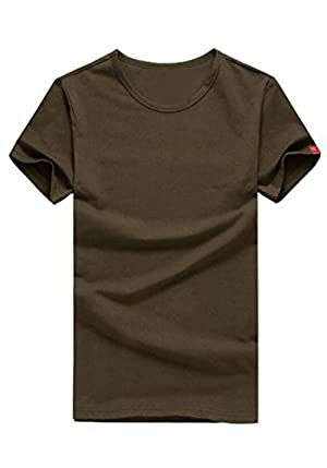 DOOXIUNDI Mens Casual Slim Fit Short Sleeve R-neck T-Shirt Of Various Colors (L, deep brown)