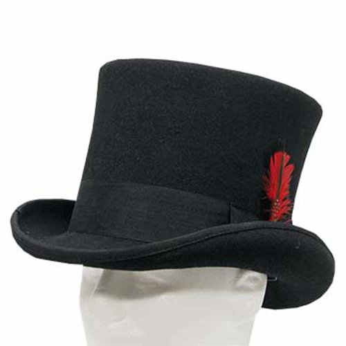 SEBASTIAN VICTORIAN Mad Hatter Tall Top Hat Wool Felt Classic 7-3/8