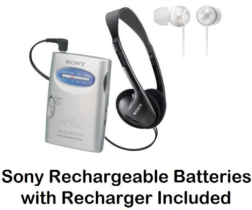 Sony Walkman Portable Lightweight AM/FM Stereo Radio with Belt Clip, Over the Head Stereo Headphones, Silky White Fashion Earbud Headphones & Sony Rechargeable Batteries with Recharger