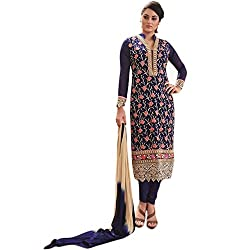 Latest Wize Blue Straight Cut Embroidered Georgette Party Dress Material with Chiffon Dupatta