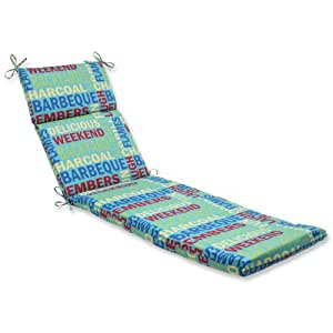 Pillow perfect outdoor grillin aqua chaise lounge cushion for Aqua chaise lounge cushions