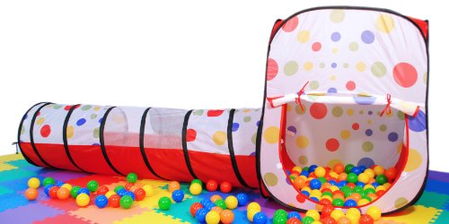 "Polka Dot Rectangular Twist Tent /W Tunnel & 200 ""Phthalate Free"" Balls & Safety Meshing For Child Visibility: Free Mystery Gift"