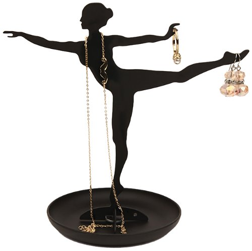 Kikkerland Ballerina Jewelery Holder Portagioie, Acciaio, Nero, 2x16x19 cm