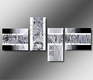 Art mmb silver moments 4 quadri moderni astratti for Quadri in bianco e nero moderni