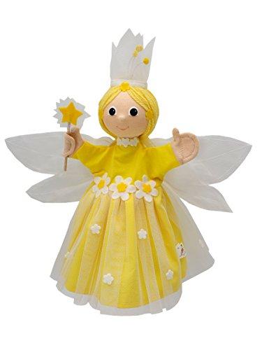 ABA cm 35-Marionetta da mano, motivo: fata dei fiori, colore: giallo