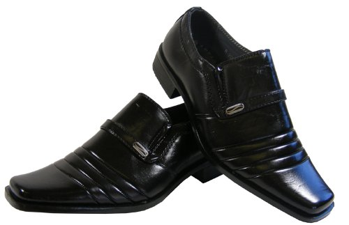 New Boys Kids Black Loafer Formal Wedding Suit Shoes Work Party Shoe Size  11 12