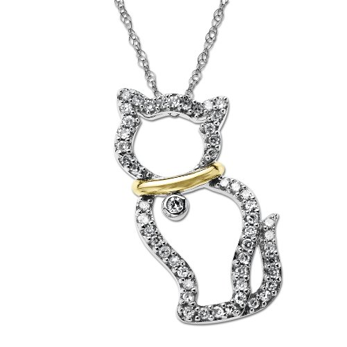 Sterling Silver and 14k Yellow-Gold Cat with Collar Diamond Pendant (.26cttw, I-J Color, I3 Clarity), 18