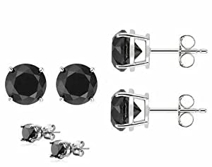 Authentic Black Cubic Zirconia Sterling Silver Stud Earrings Top Quality Cubic Zirconia. 1.50 Carat Each Stone, Total Weight of 3.00 Carat. Heavy Casting Settings