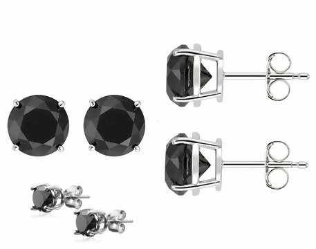 Authentic Black Cubic Zirconia Sterling Silver