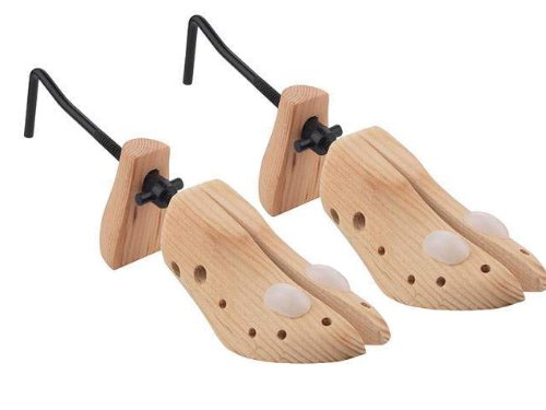 ADJUSTABLE 2 PIECE MENS / GENTS WOODEN SHOE TREE STRETCHER SHAPER + ** FREE EXPANSION CLIPS FOR PRESSURE POINT AREAS** PREVENT BUNIONS BLISTERS & CORNS