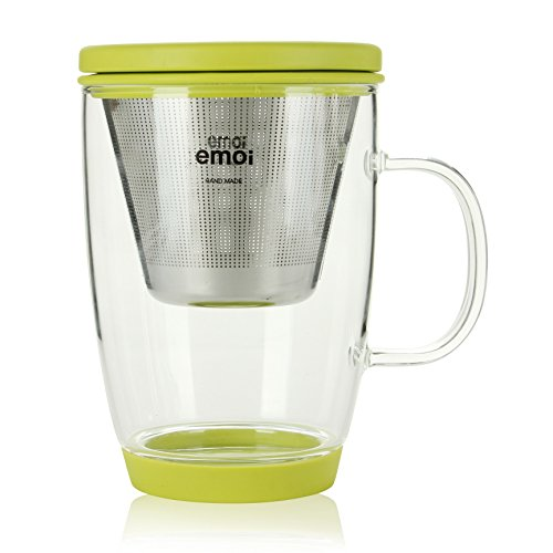 Emoi 16oz Teapot, Pyrex Glass Brewing Tea Cup, Tea Infuser Mug, Loose Leaf Flower Tea Maker w/ Strainer, Food Grade Silicone Lid&Base, Heat Resistant, Noise Free, Safe&Healthy, Easy to Clean.(Green) (Cup Teapot compare prices)