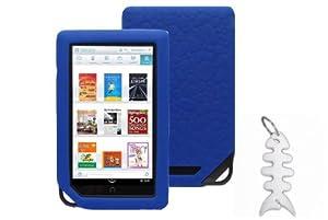 Barnes & Noble NOOK COLOR eBook Reader Tablet Silicone Skin Case Gel Cover- Blue + Fishbond keychain