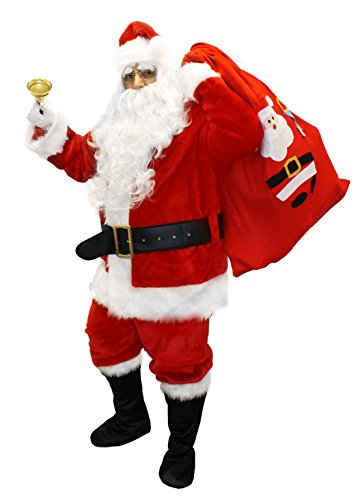 12 PIECE DELUXE FATHER CHRISTMAS SANTA COSTUME SET SANTA CLAUS SUIT JACKET + TROUSERS + 10 PAIRS EYEBROWS + WIG + BEARD + BOOT TOPS + GLASSES + BELT + HAT + GLOVES + INFLATABLE BELLY + SACK FANCY DRESS FATHER CHRISTMAS